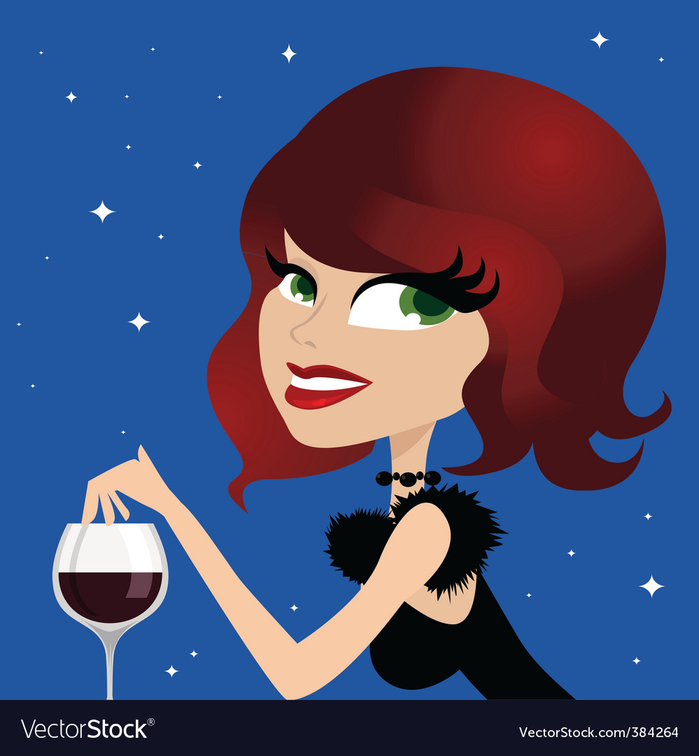 Woman drinking wine vector | Price: 1 Credit (USD $1)