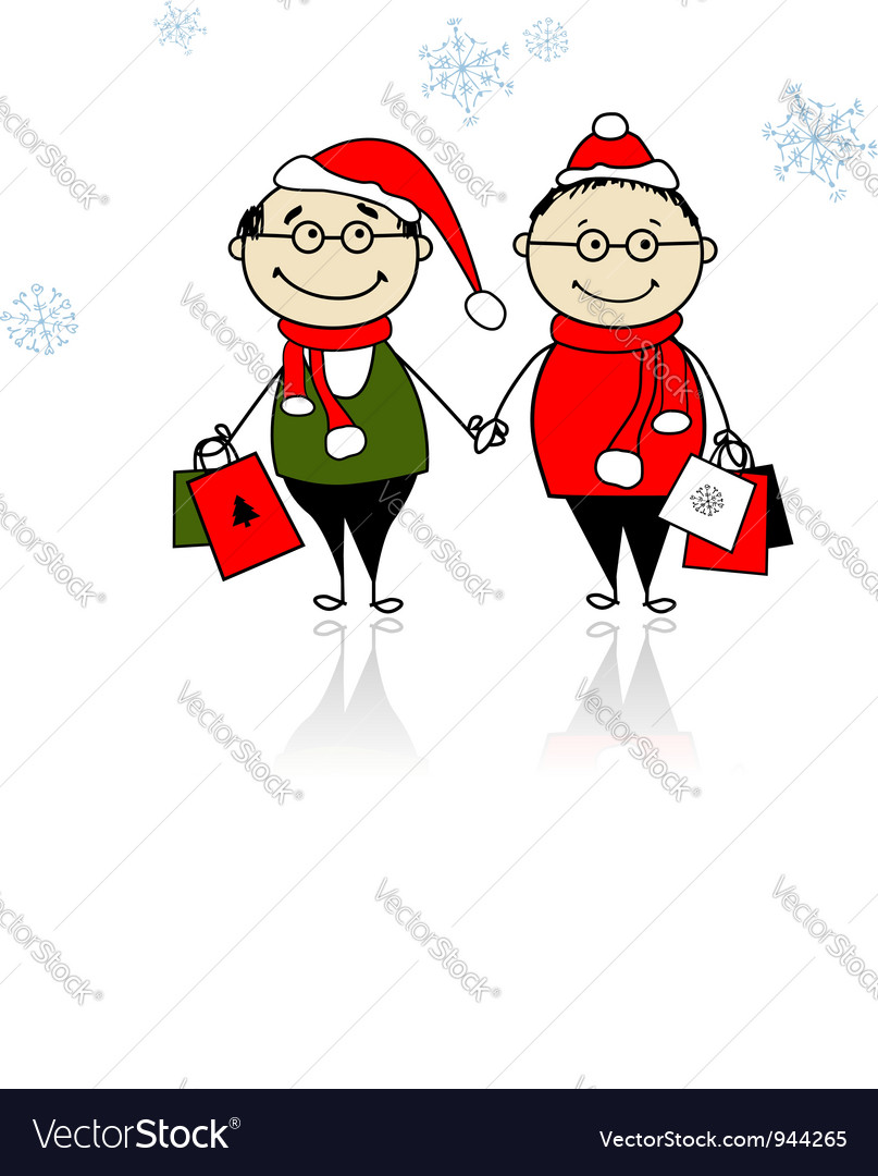 Christmas gifts family with shopping bags vector | Price: 1 Credit (USD $1)