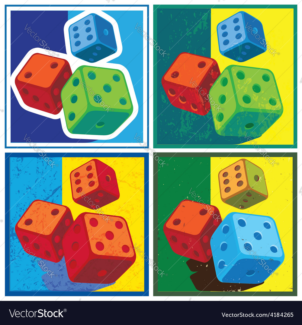 Dice in retro style vector | Price: 1 Credit (USD $1)