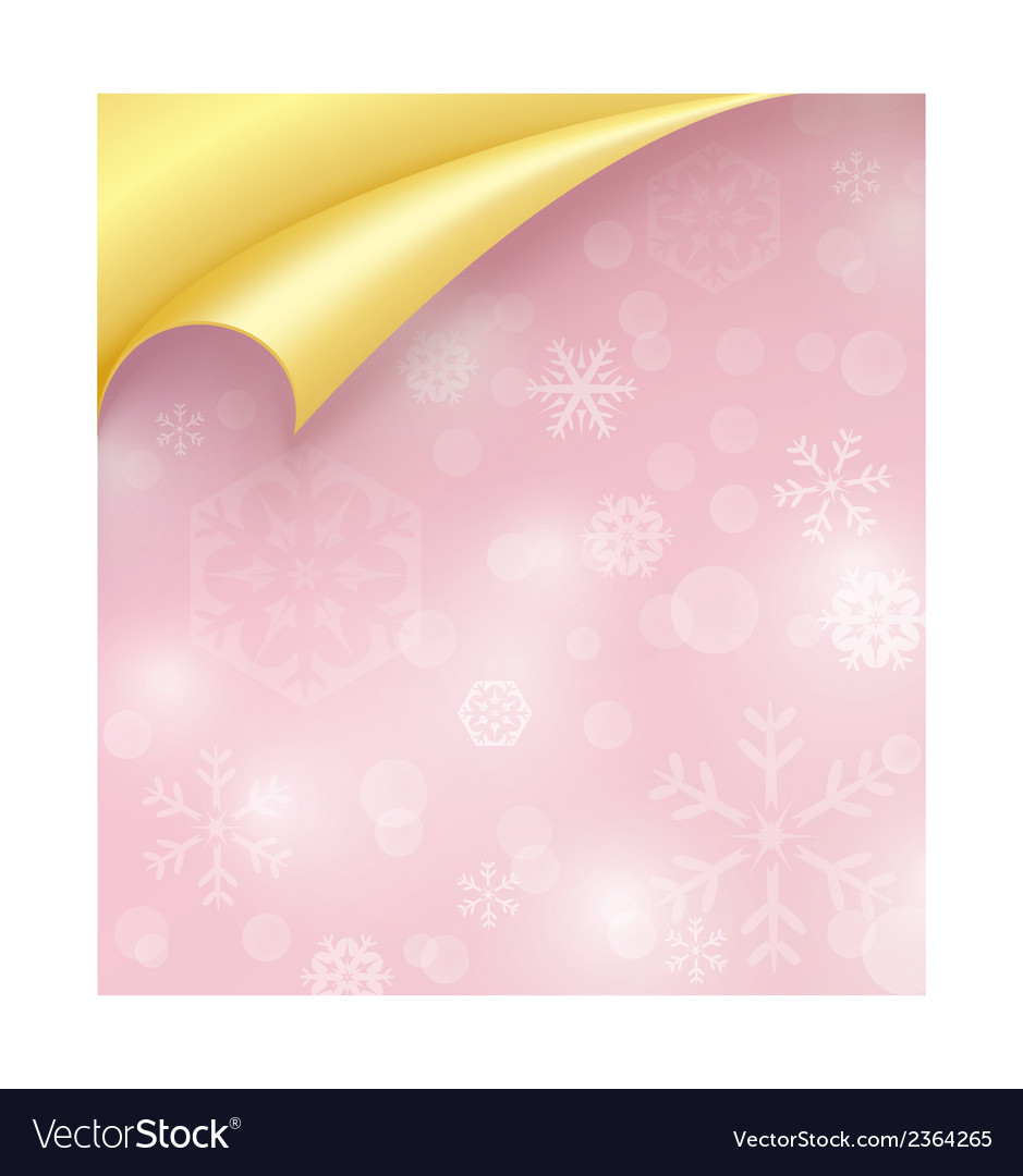 Pink paper with snowflake texture and curled vector | Price: 1 Credit (USD $1)