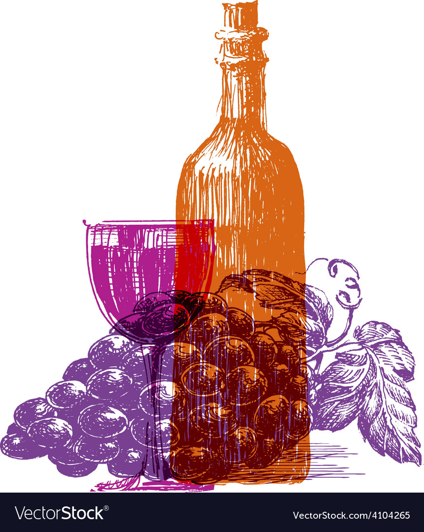 Retro wine logo design template grape or vector | Price: 3 Credit (USD $3)