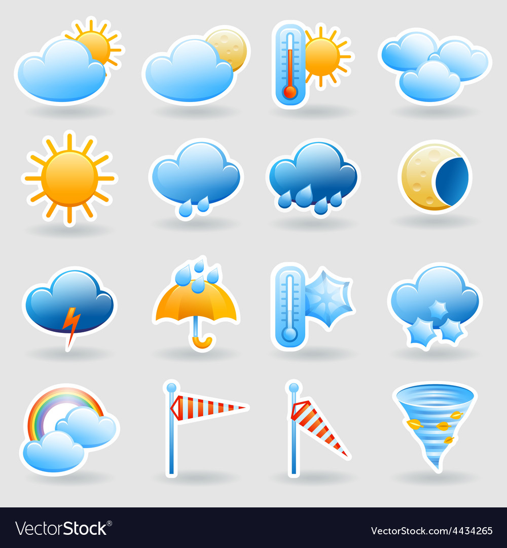 Weather forecast symbols icons set vector | Price: 1 Credit (USD $1)