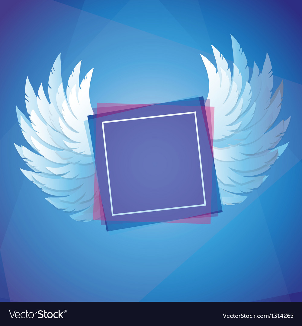 White wings with square frame vector | Price: 1 Credit (USD $1)