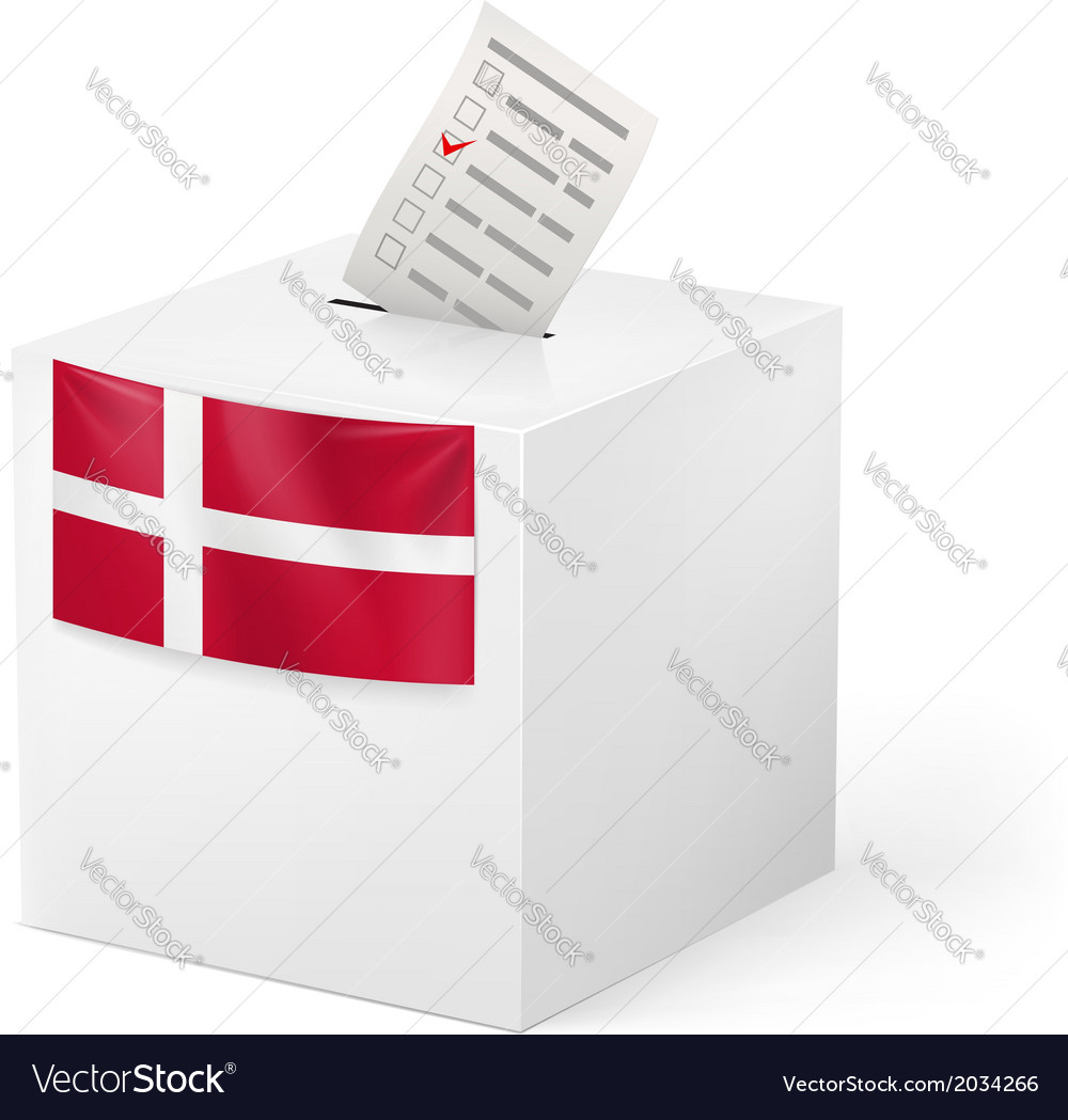 Ballot box with voting paper denmark vector | Price: 1 Credit (USD $1)