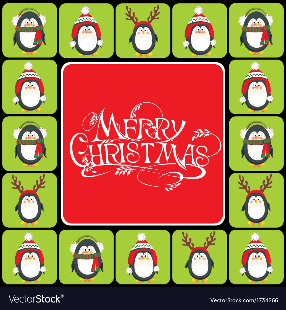 Christmas background with cute penguins vector | Price: 1 Credit (USD $1)