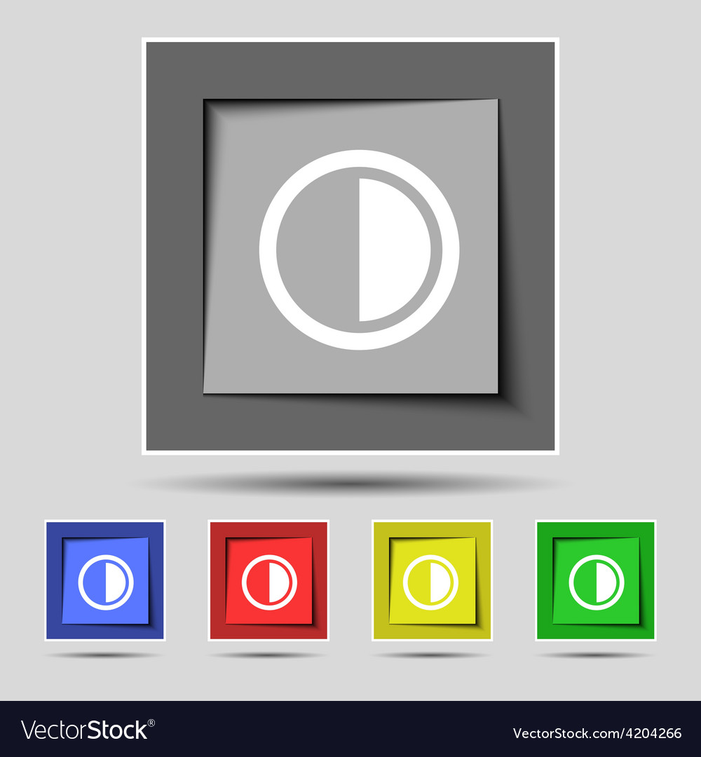 Contrast icon sign on the original five colored vector | Price: 1 Credit (USD $1)