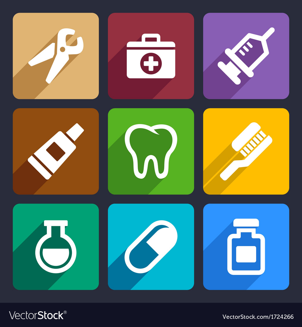 Dental flat icons set 9 vector | Price: 1 Credit (USD $1)