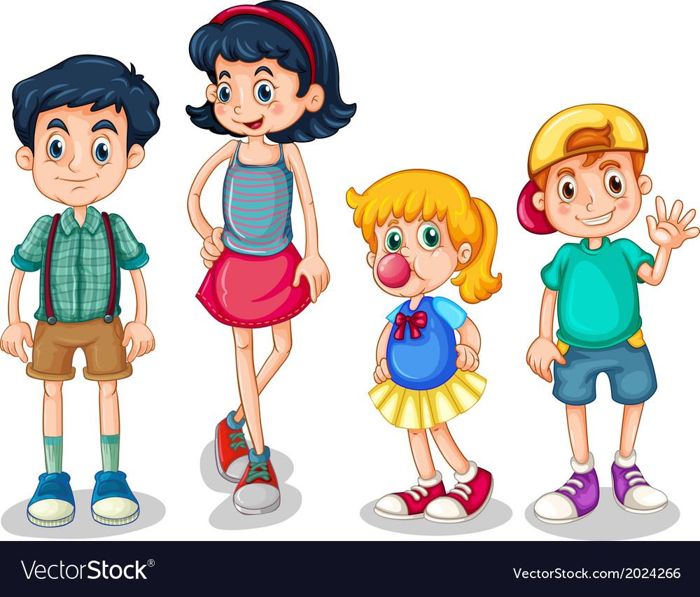 Four siblings vector   Price: 3 Credit (USD $3)