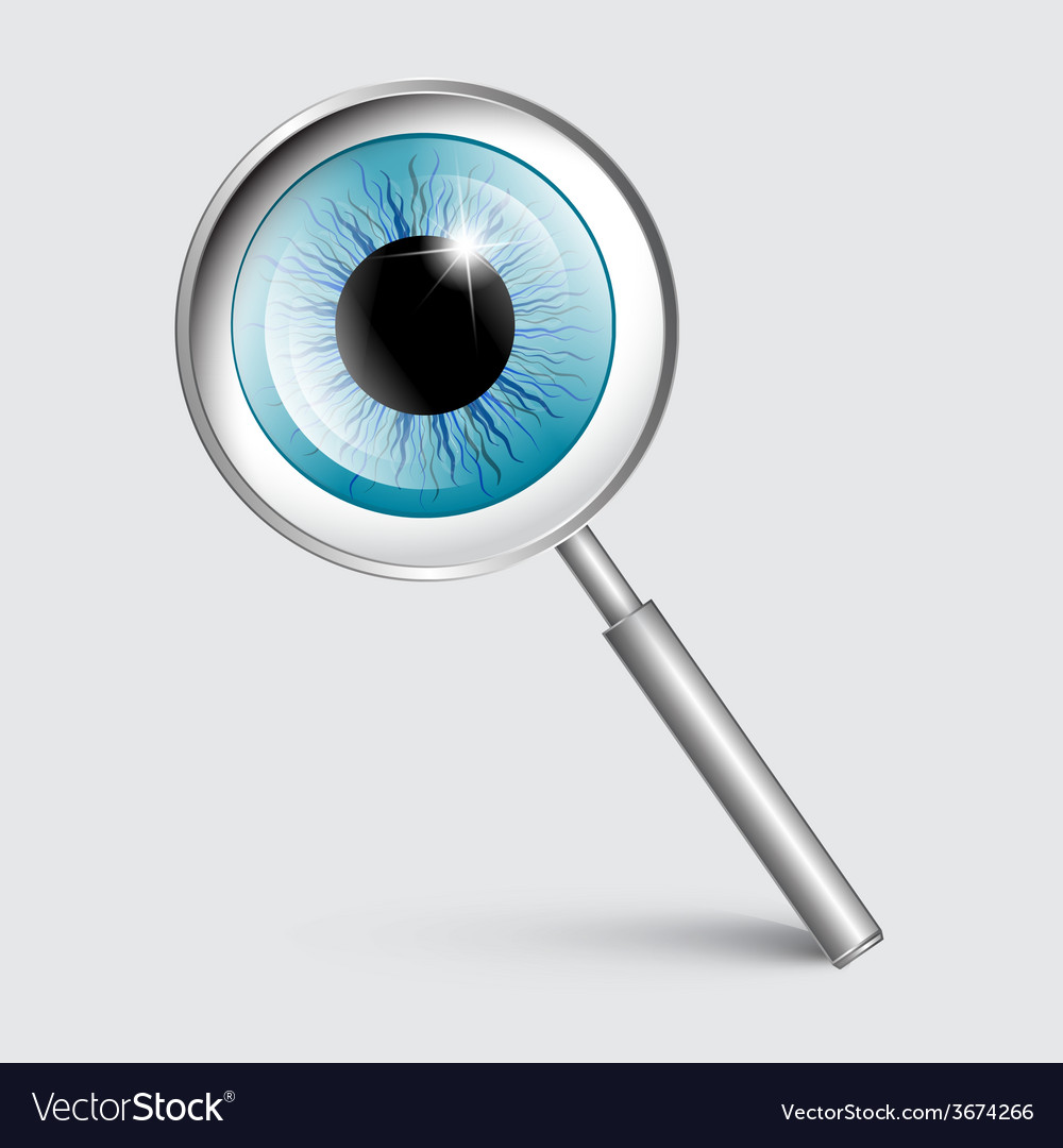 Magnifying glass with blue eye vector | Price: 1 Credit (USD $1)