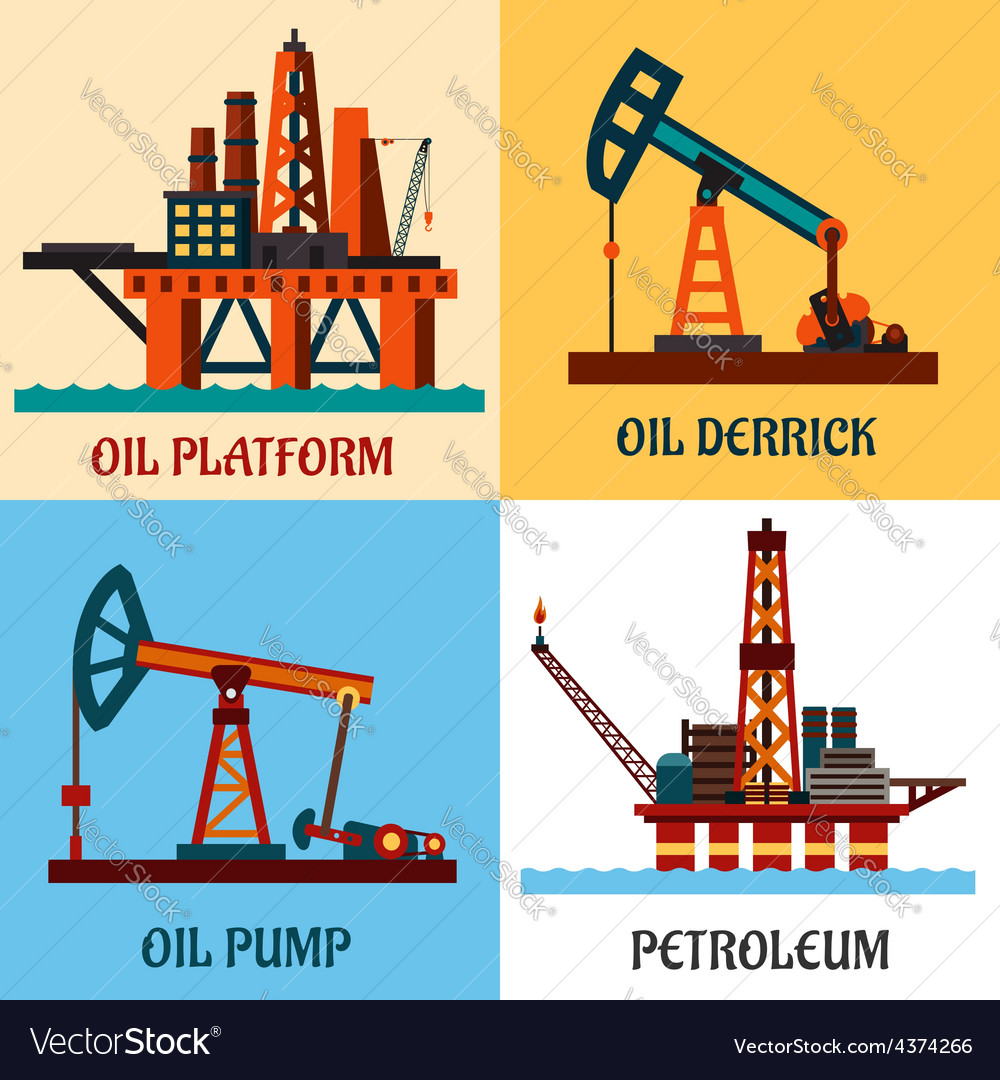Petroleum production and oil derrick flat icons vector | Price: 1 Credit (USD $1)