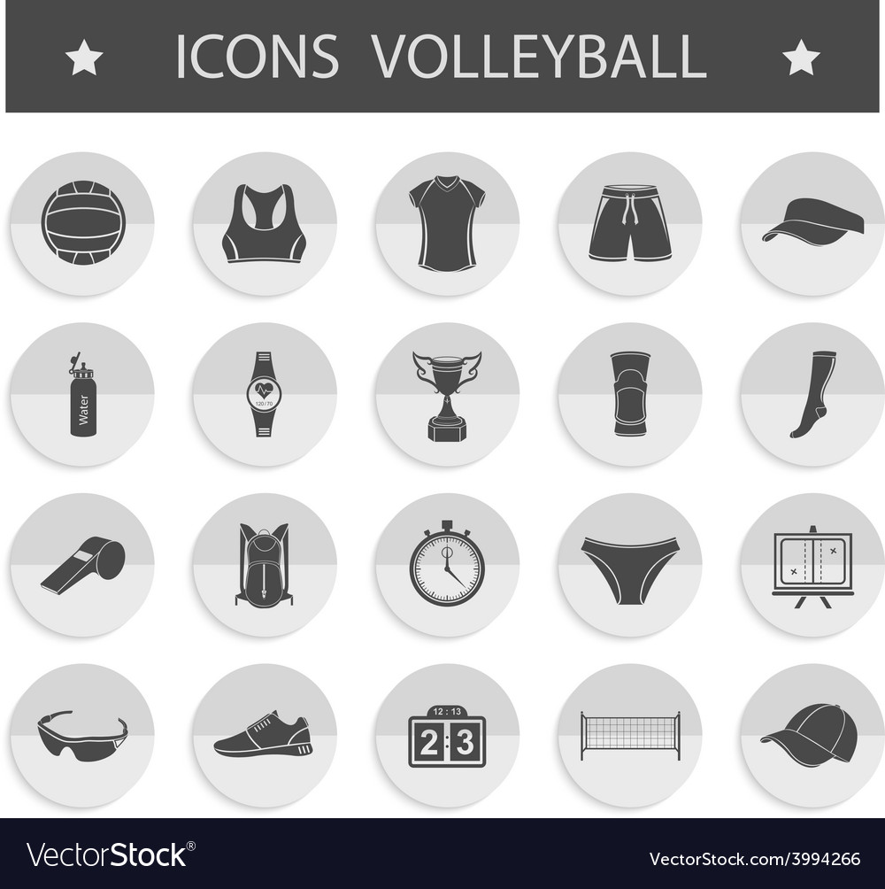 Set of icons volleyball vector | Price: 1 Credit (USD $1)