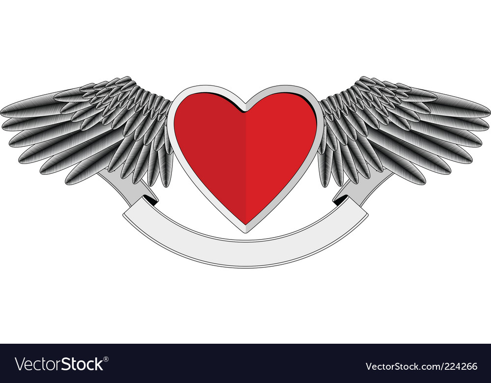Winged heart logo vector | Price: 1 Credit (USD $1)
