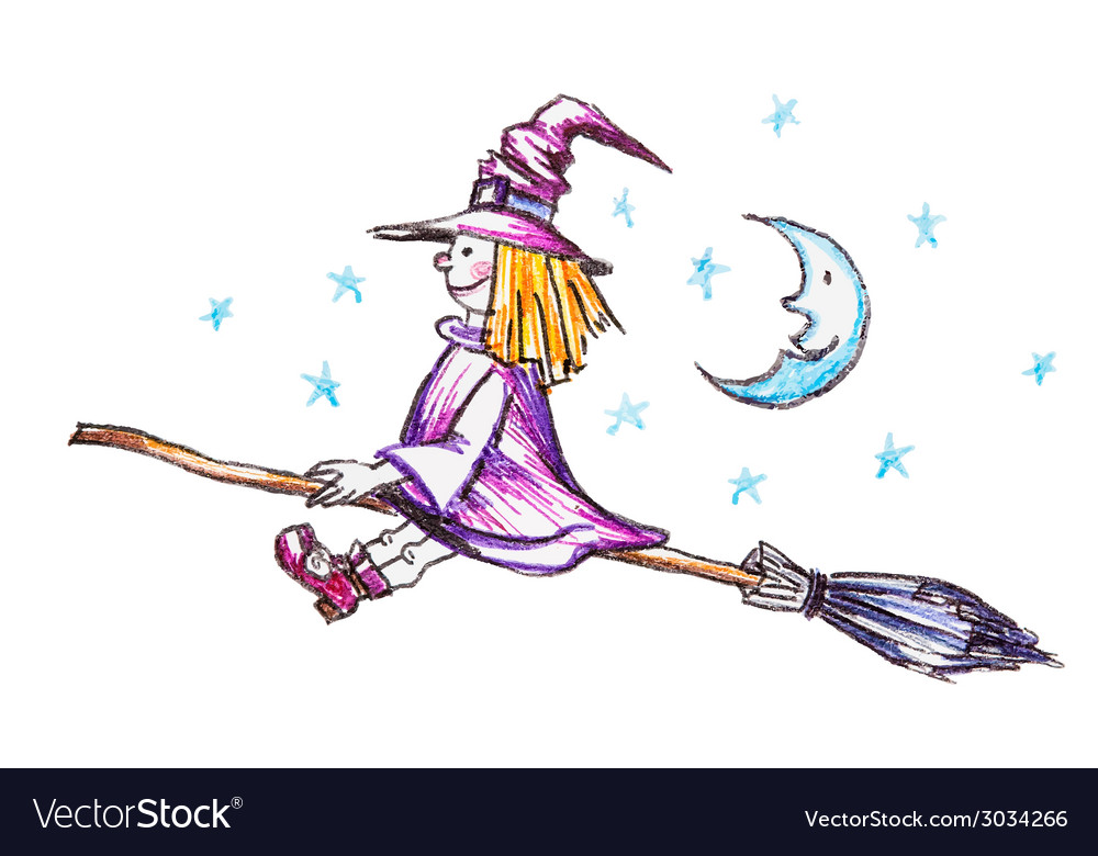 Witch flying on the broom vector | Price: 1 Credit (USD $1)