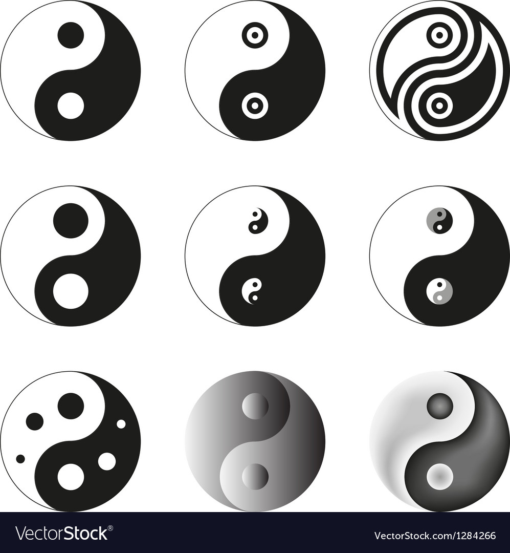 Yin yang symbol of balance and harmony set vector | Price: 1 Credit (USD $1)