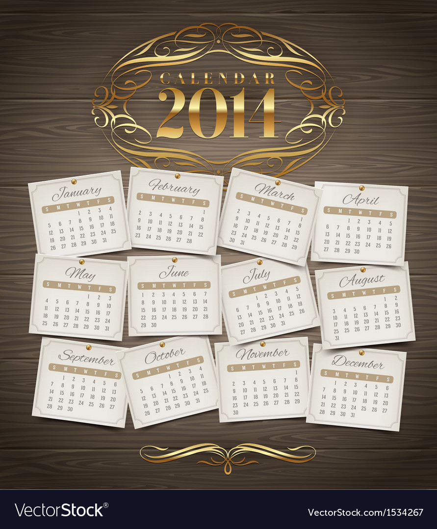 Calendar of 2014 with golden decor vector | Price: 1 Credit (USD $1)