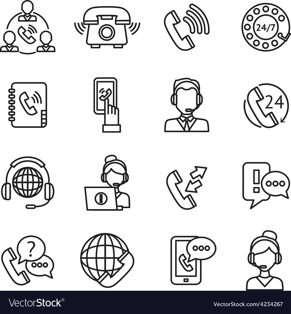 Call center outline icons set vector | Price: 1 Credit (USD $1)