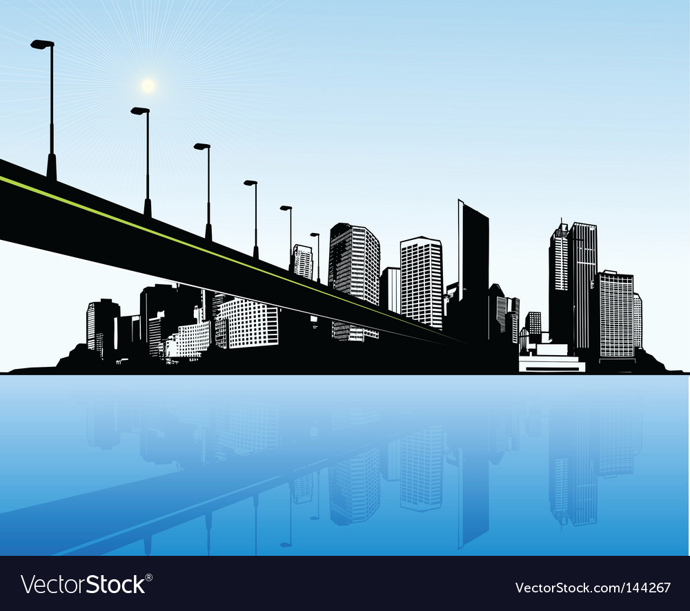 City with water and bridge vector | Price: 1 Credit (USD $1)