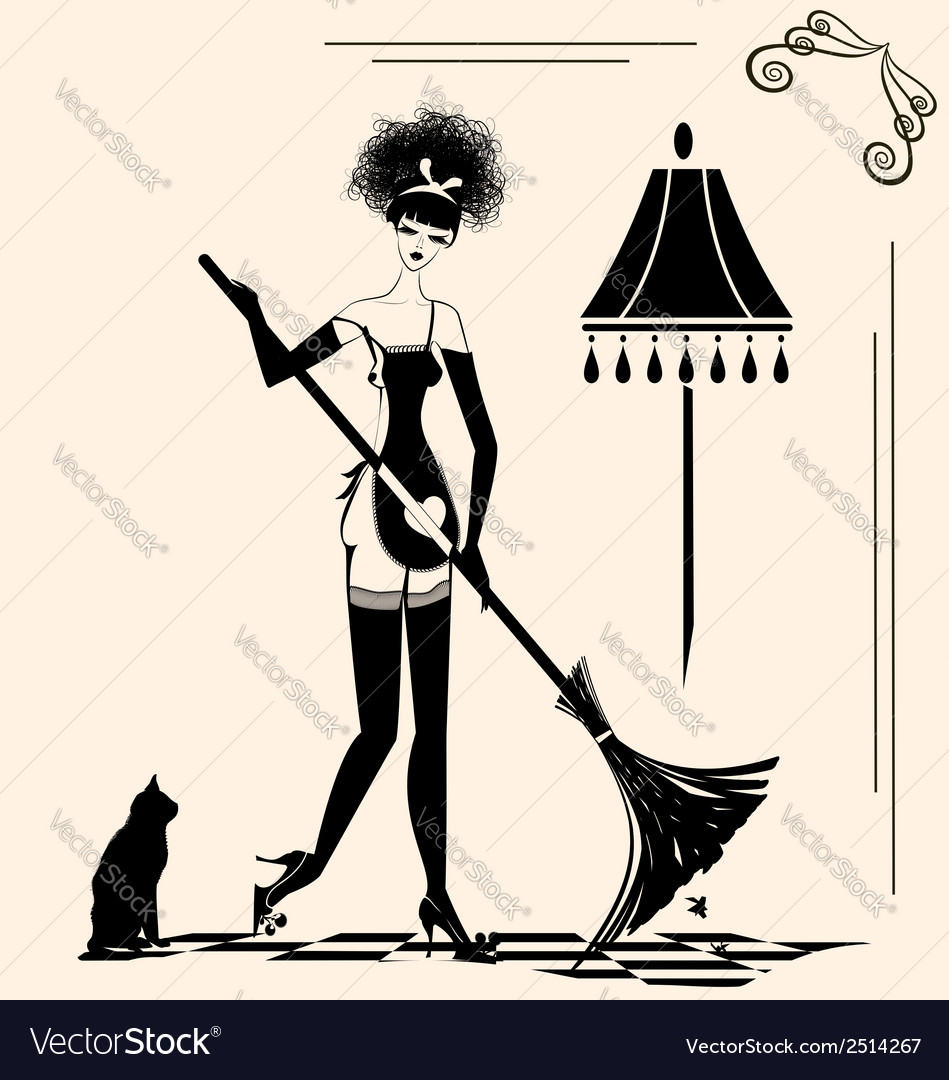 Housewife and a broom vector | Price: 1 Credit (USD $1)