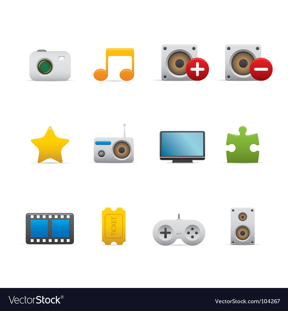 Multimedia and entertainment icons vector   Price: 1 Credit (USD $1)