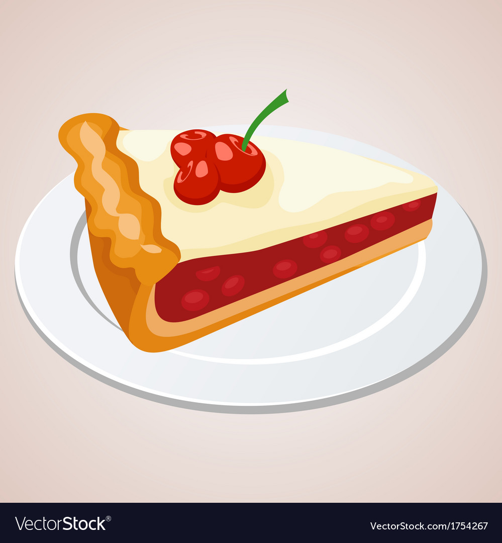 Piece of cherry pie vector | Price: 1 Credit (USD $1)