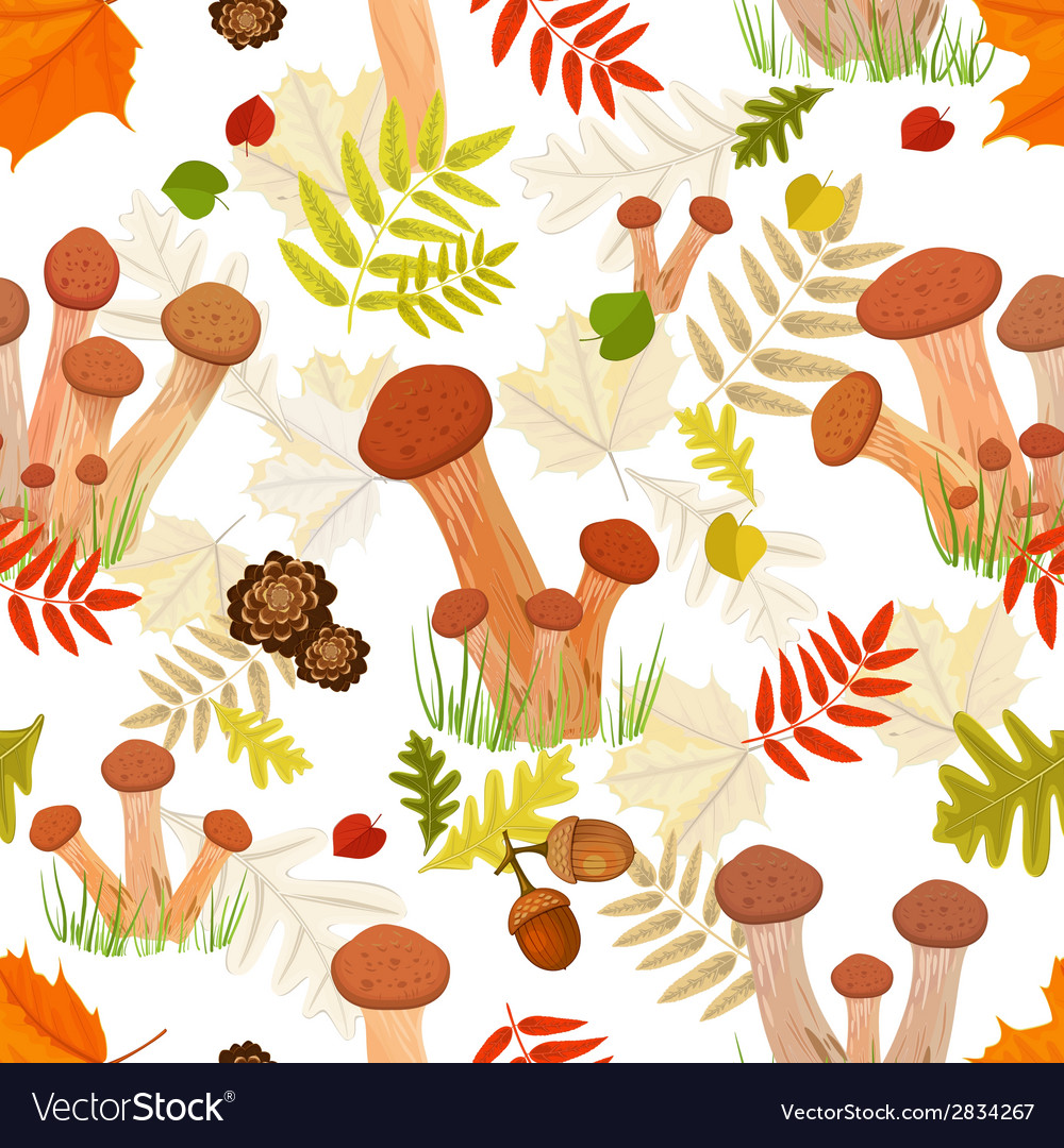 Seamless texture with forest mushroom vector