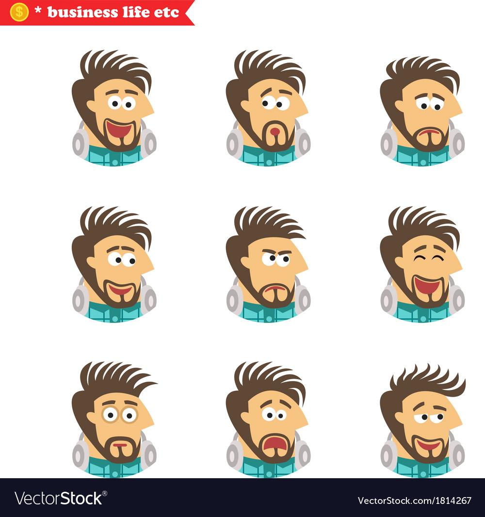 Software engineer facial emotions vector | Price: 1 Credit (USD $1)