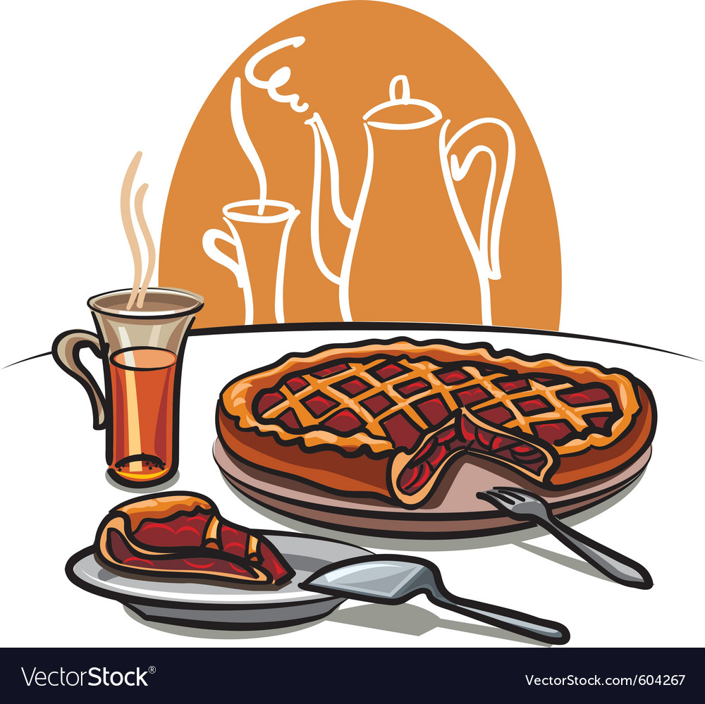 Sweet pie and tea vector | Price: 3 Credit (USD $3)