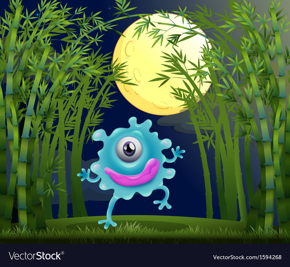 A rainforest with a one-eyed monster vector   Price: 1 Credit (USD $1)