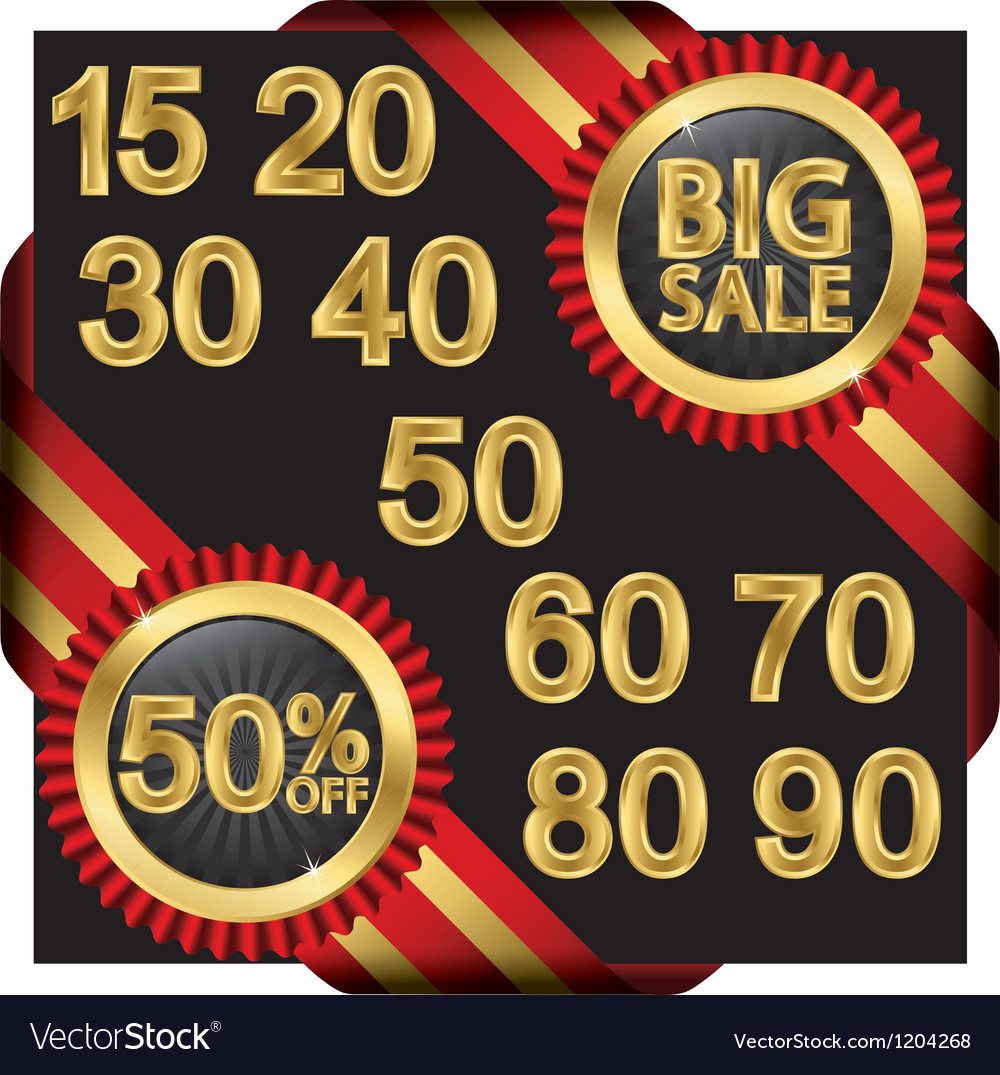 Big sale set golden label with ribbons vector | Price: 3 Credit (USD $3)