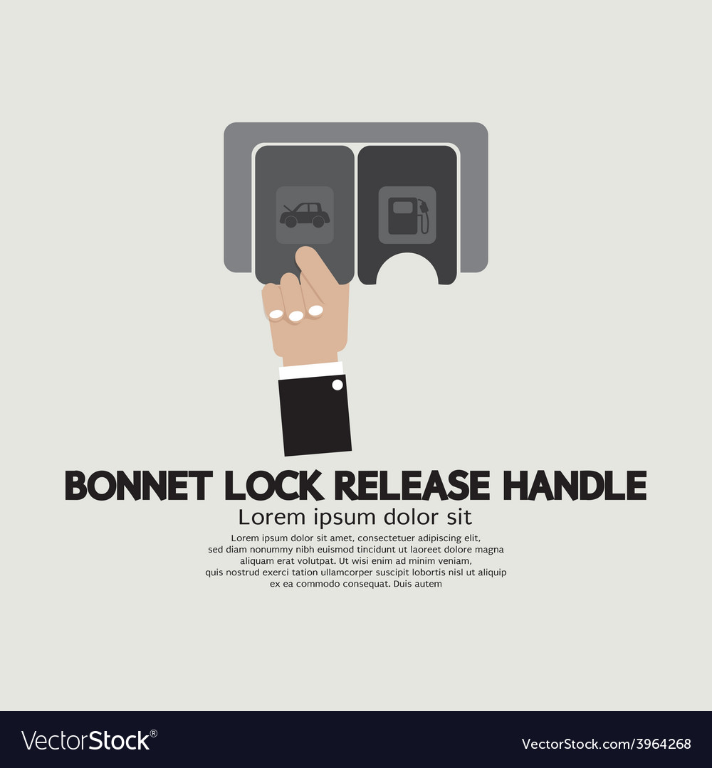 Bonnet lock release handle with hand vector | Price: 1 Credit (USD $1)