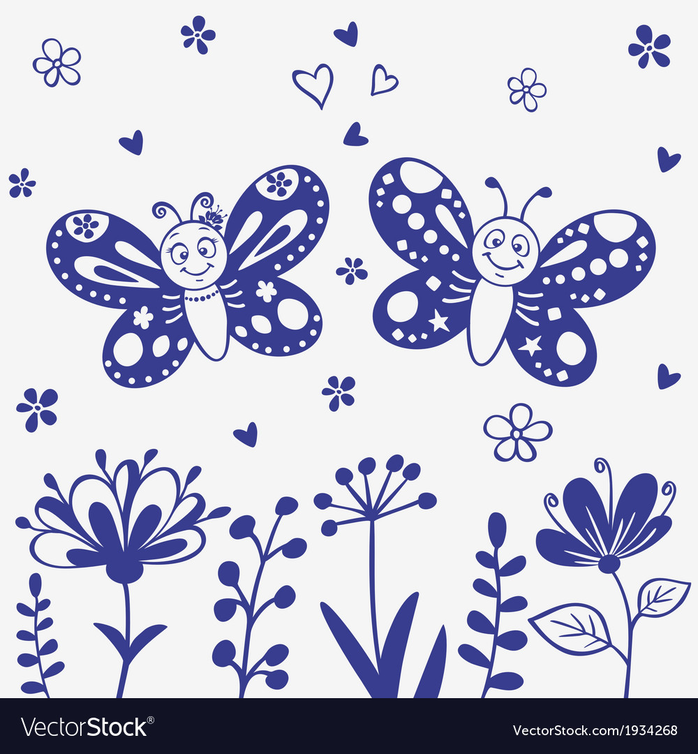 Butterflies silhouette vector | Price: 1 Credit (USD $1)