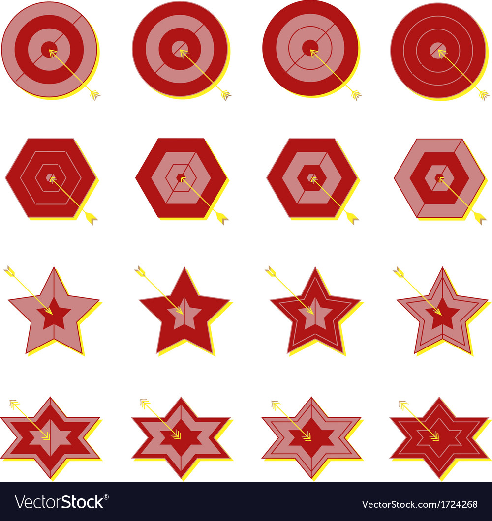Create target and arrow color icons vector   Price: 1 Credit (USD $1)