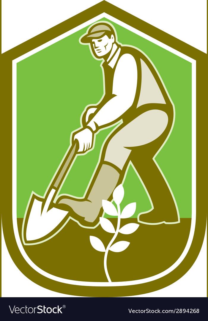 Gardener landscaper digging shovel cartoon vector | Price: 1 Credit (USD $1)