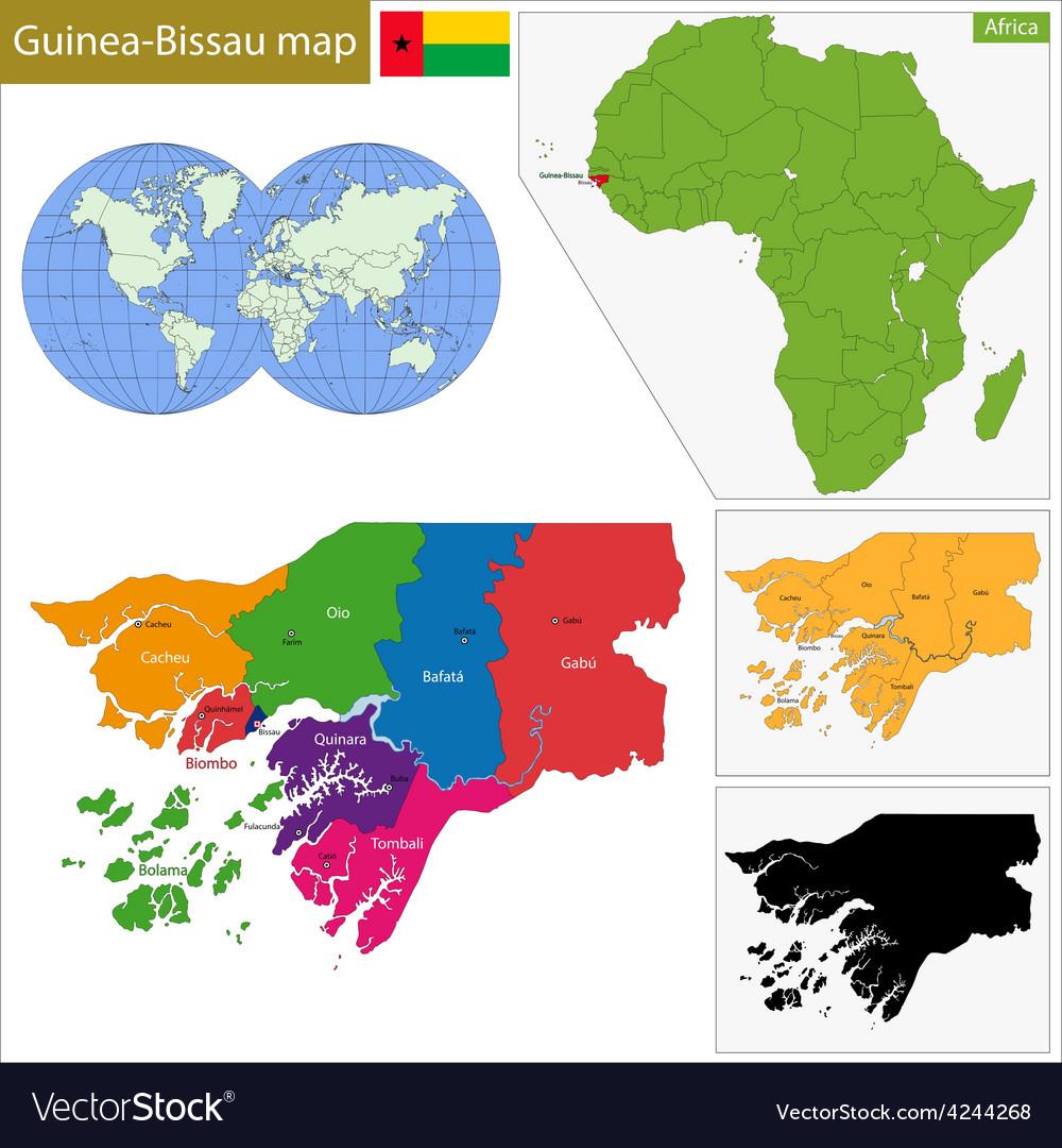 Guinea-bissau map vector | Price: 1 Credit (USD $1)