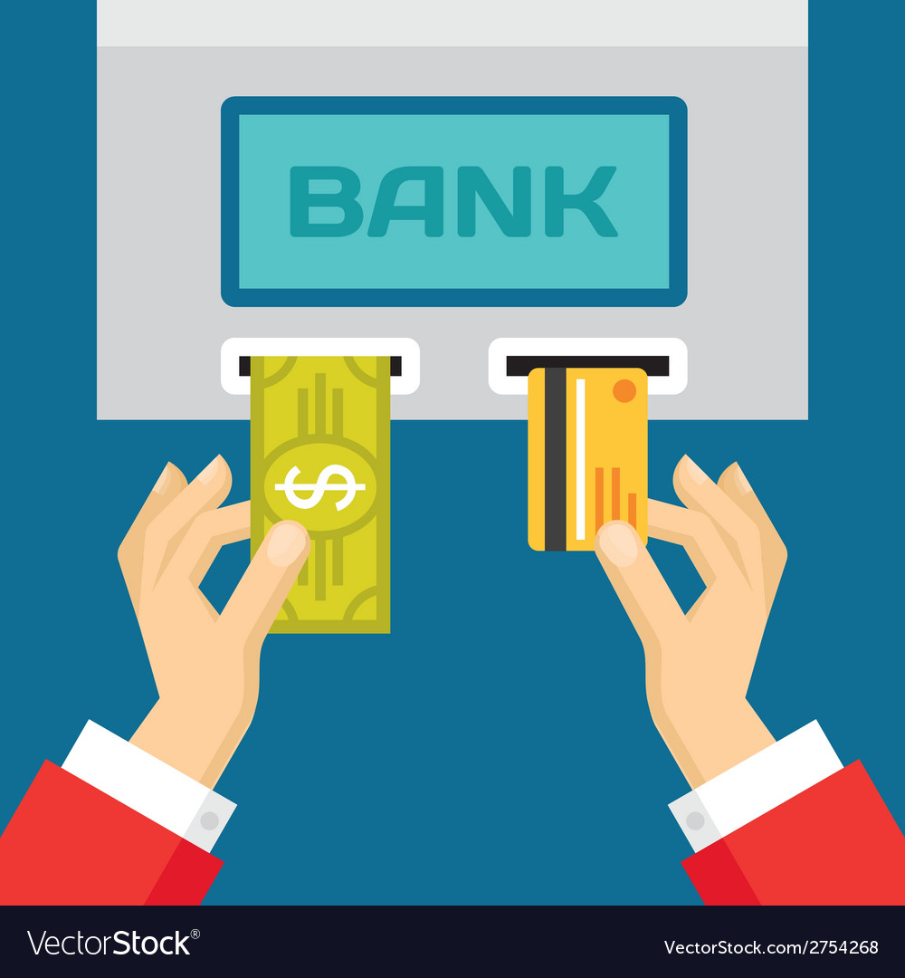 Human hands with plastic card and dollar - atm vector | Price: 1 Credit (USD $1)