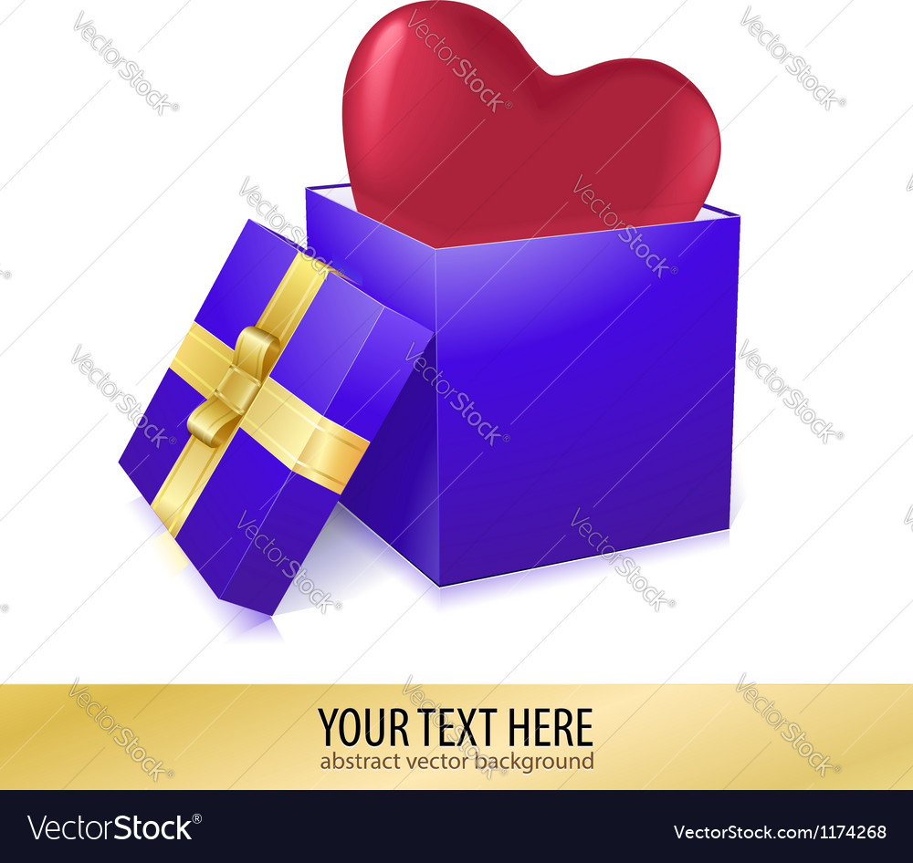 Open box with heart vector | Price: 1 Credit (USD $1)