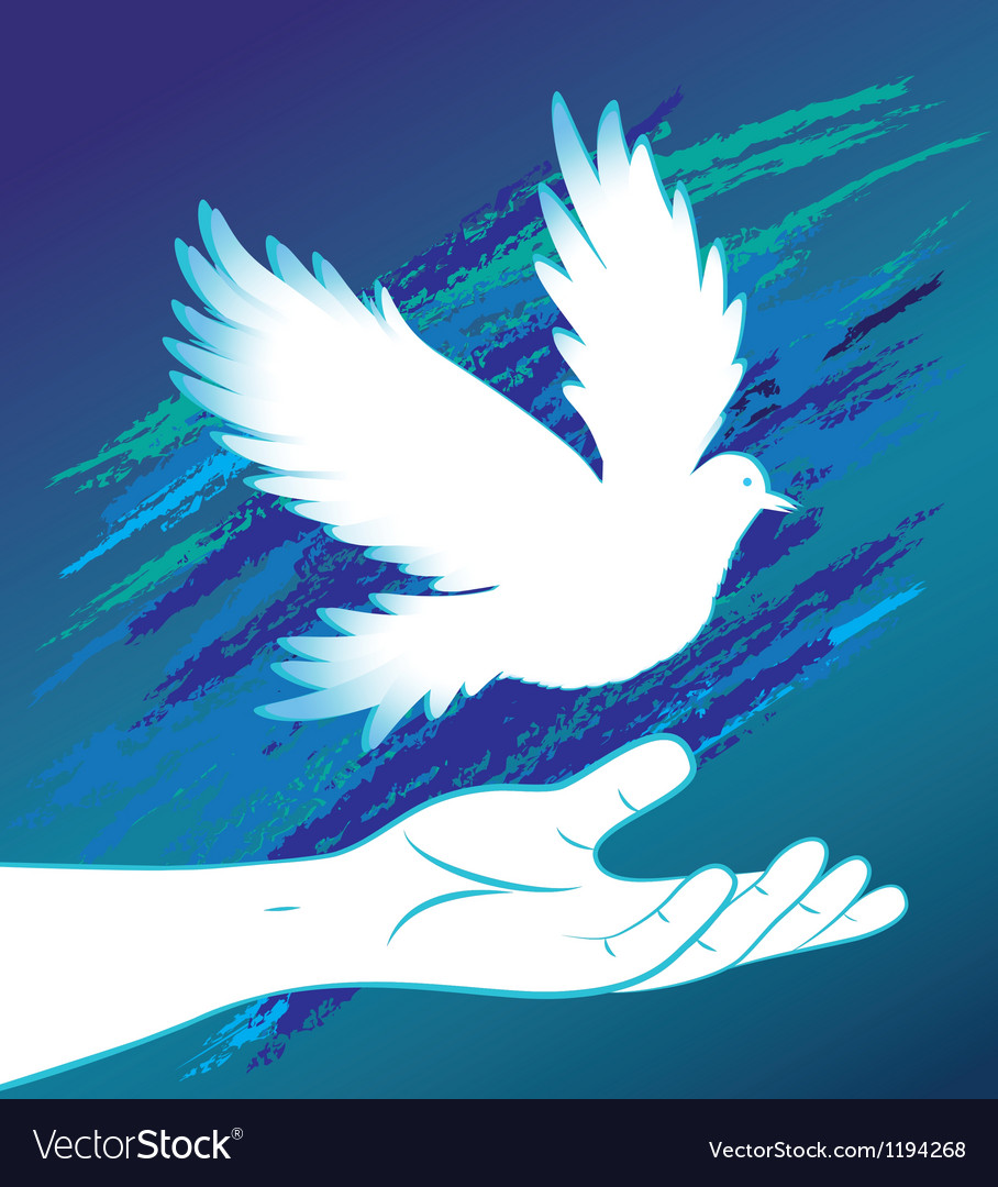 People hand and bird pigeon vector | Price: 1 Credit (USD $1)