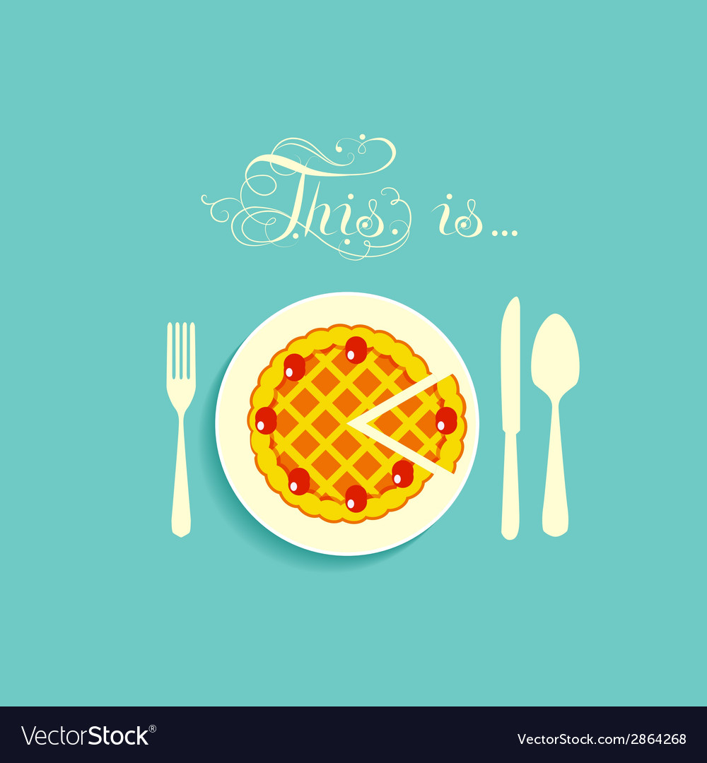 Pie is on a plate vector | Price: 1 Credit (USD $1)