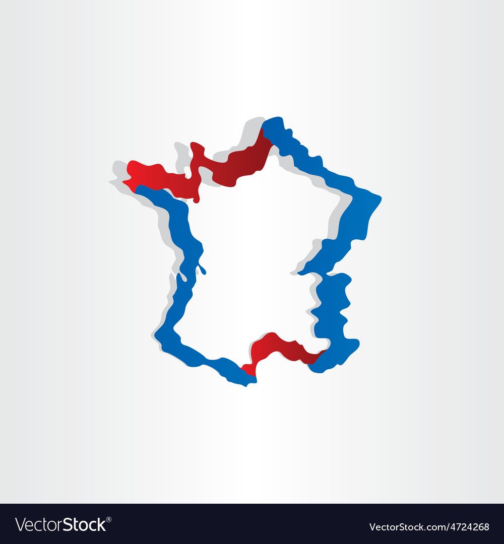 Red blue france map stylized icon design vector | Price: 1 Credit (USD $1)