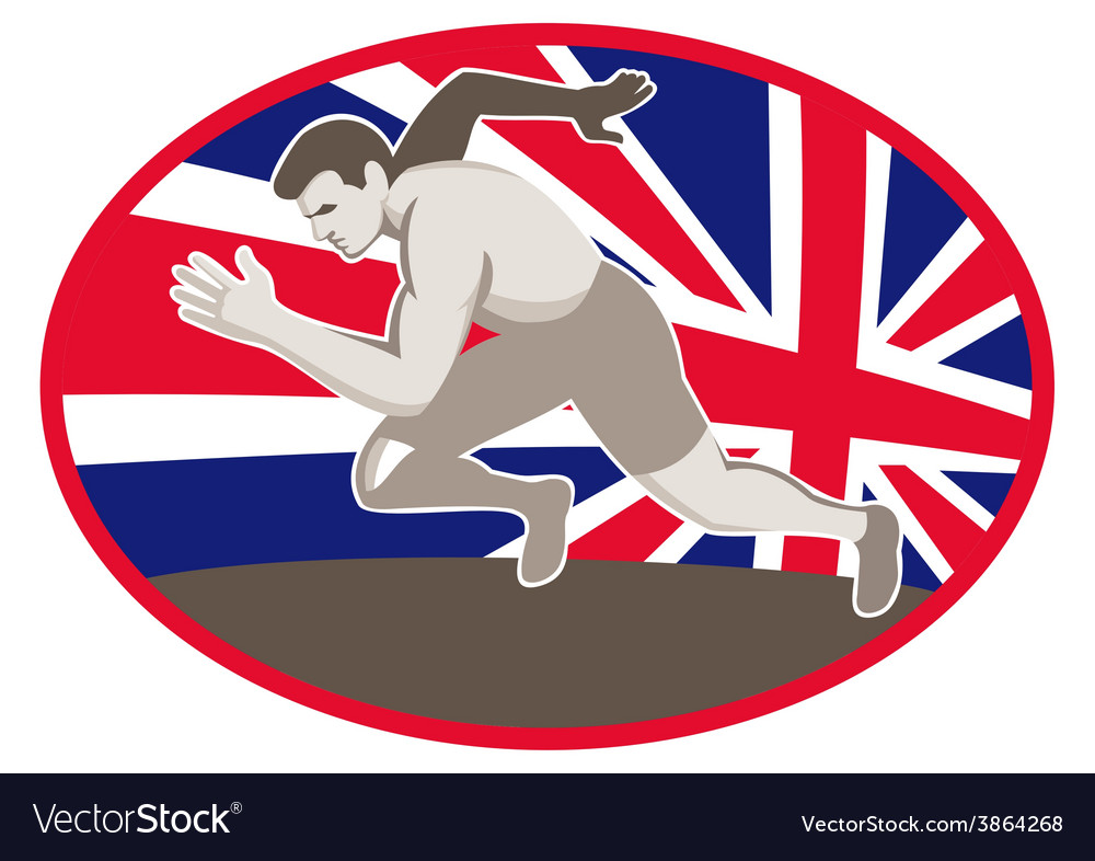 Runner track and field athlete british flag vector | Price: 1 Credit (USD $1)