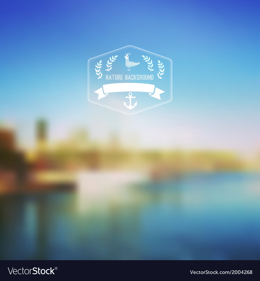 Seaside landscape with hipster badge outdoor vector | Price: 1 Credit (USD $1)