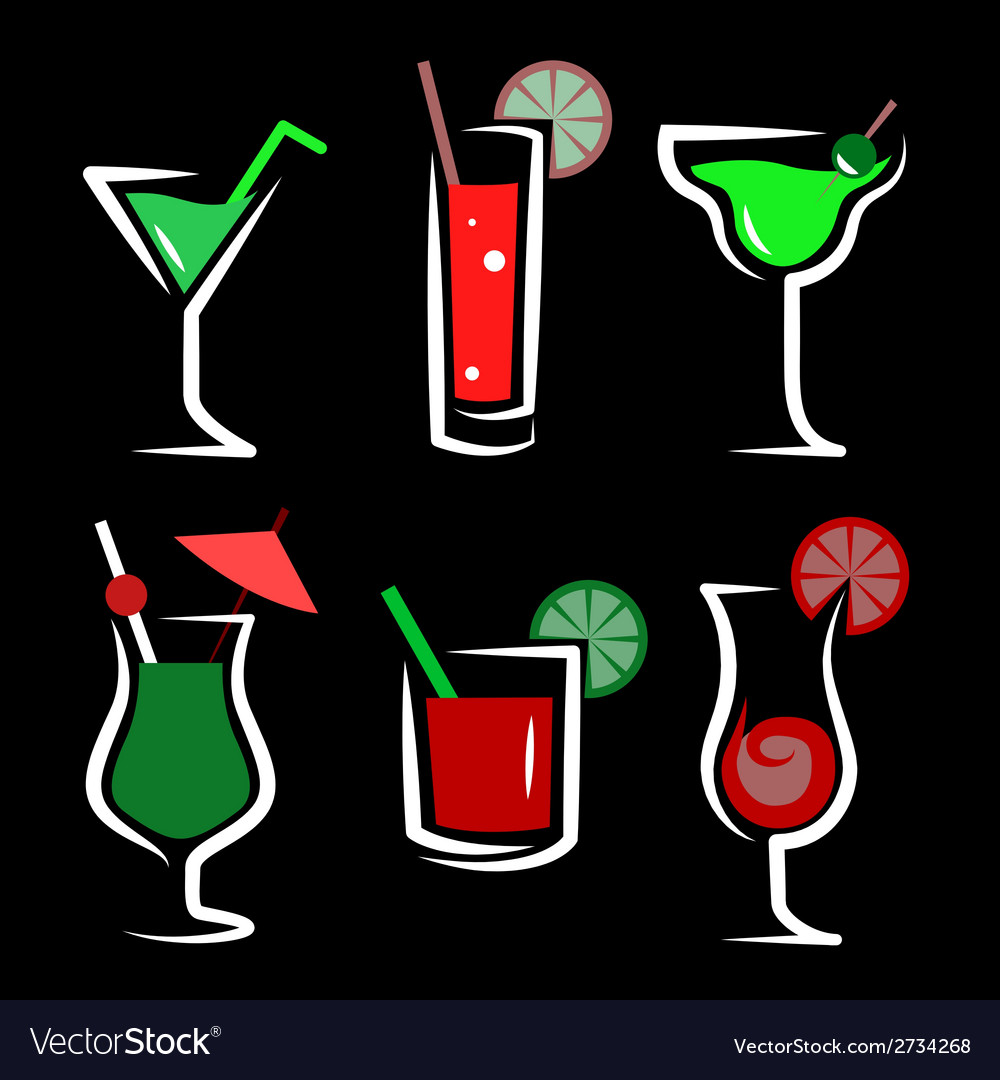 Set of cocktails soft and long-drinks vector   Price: 1 Credit (USD $1)