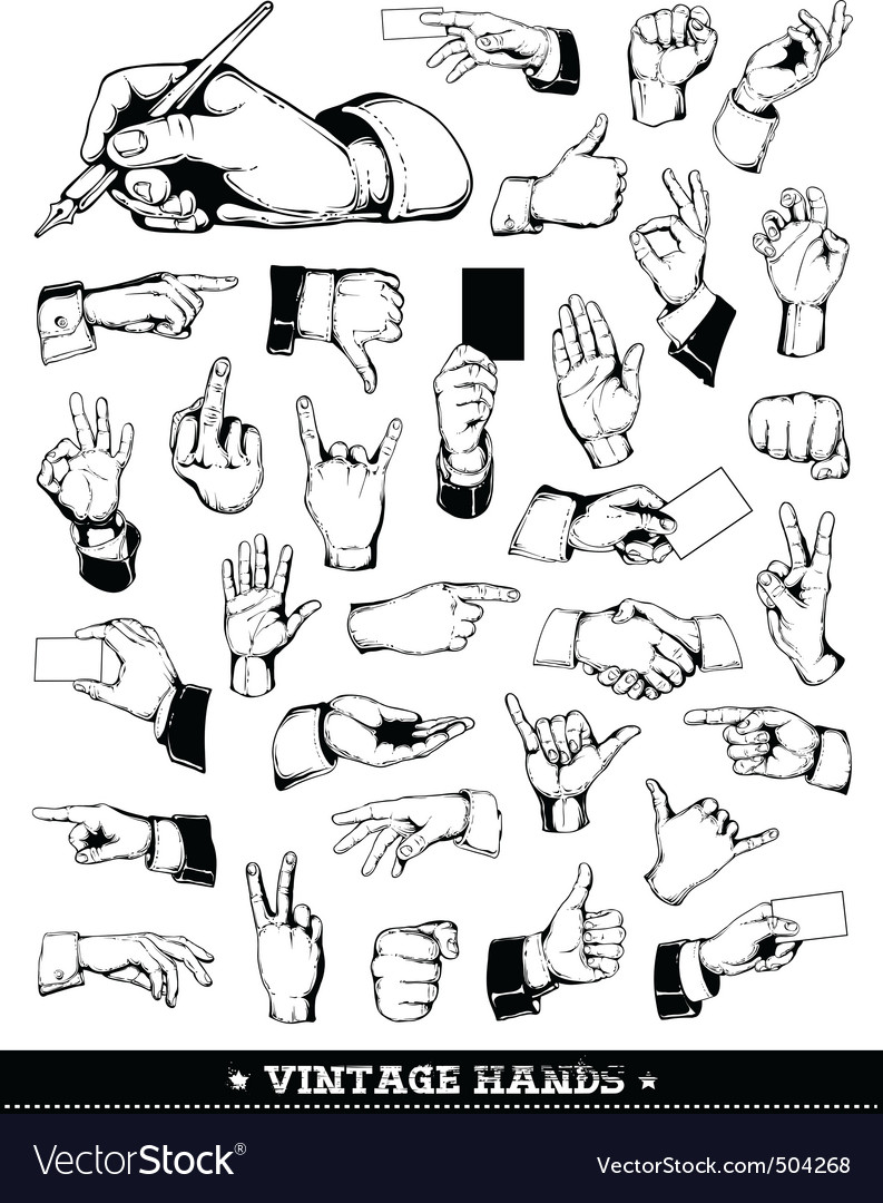 Set of vintage hands vector | Price: 1 Credit (USD $1)