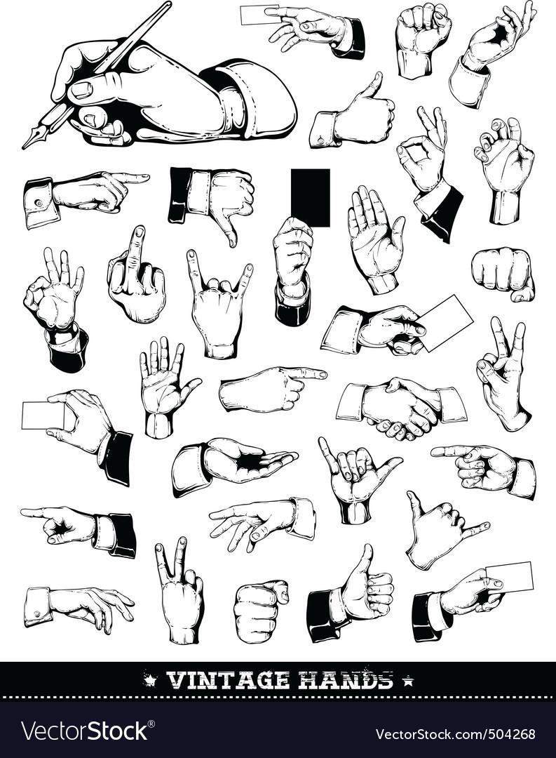 Set of vintage hands vector | Price: 1 Credit (USD $1)