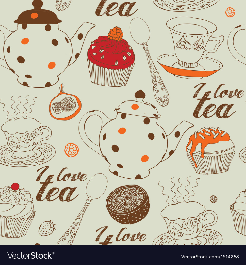 Tea with cakes vector | Price: 1 Credit (USD $1)