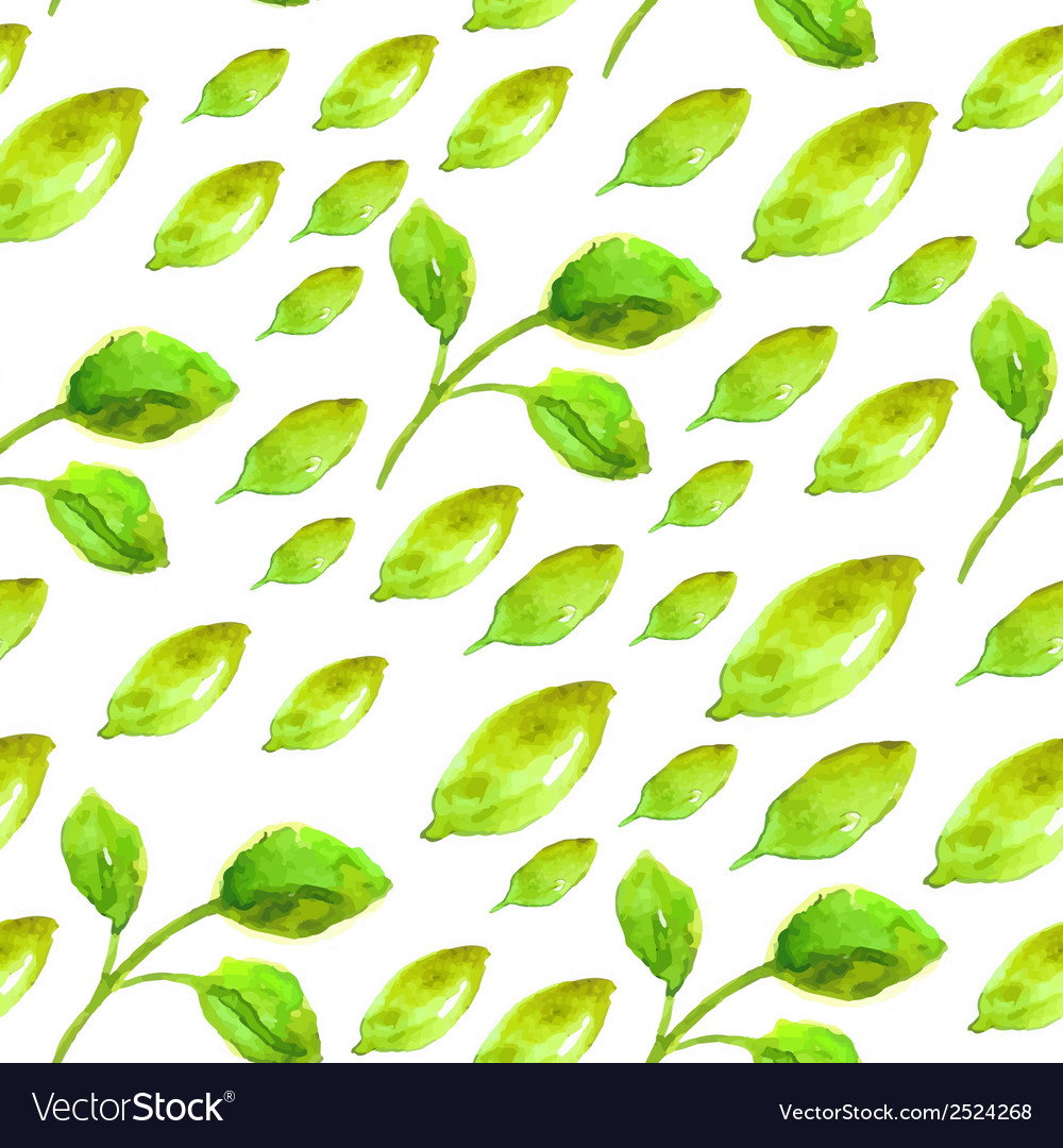 Watercolor seamless pattern with green leaf vector | Price: 1 Credit (USD $1)