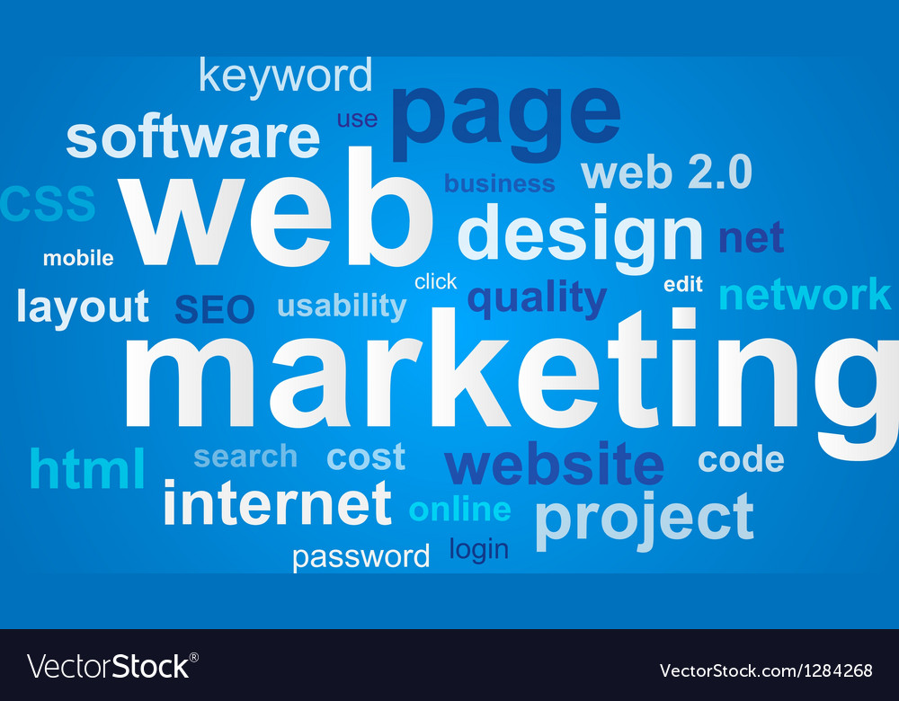 Web marketing in word cloud on blue background vector | Price: 1 Credit (USD $1)