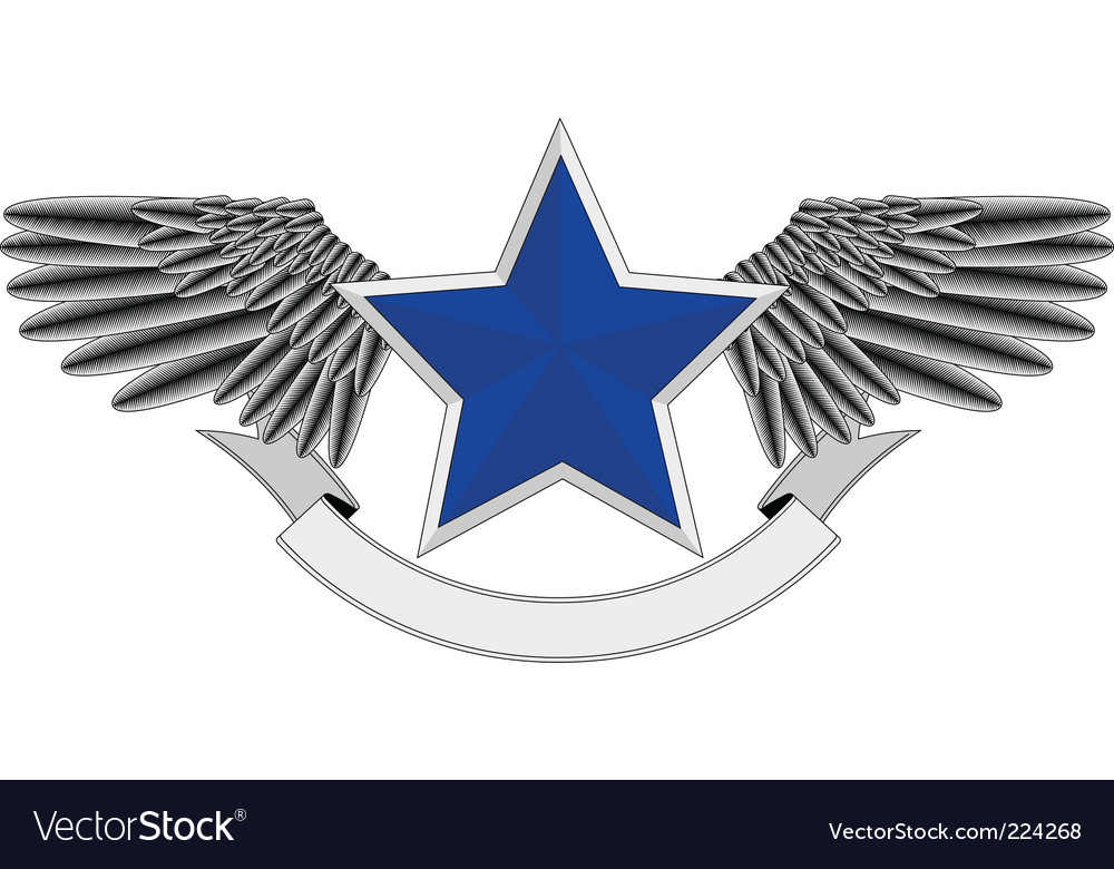 Winged blue star logo vector | Price: 1 Credit (USD $1)