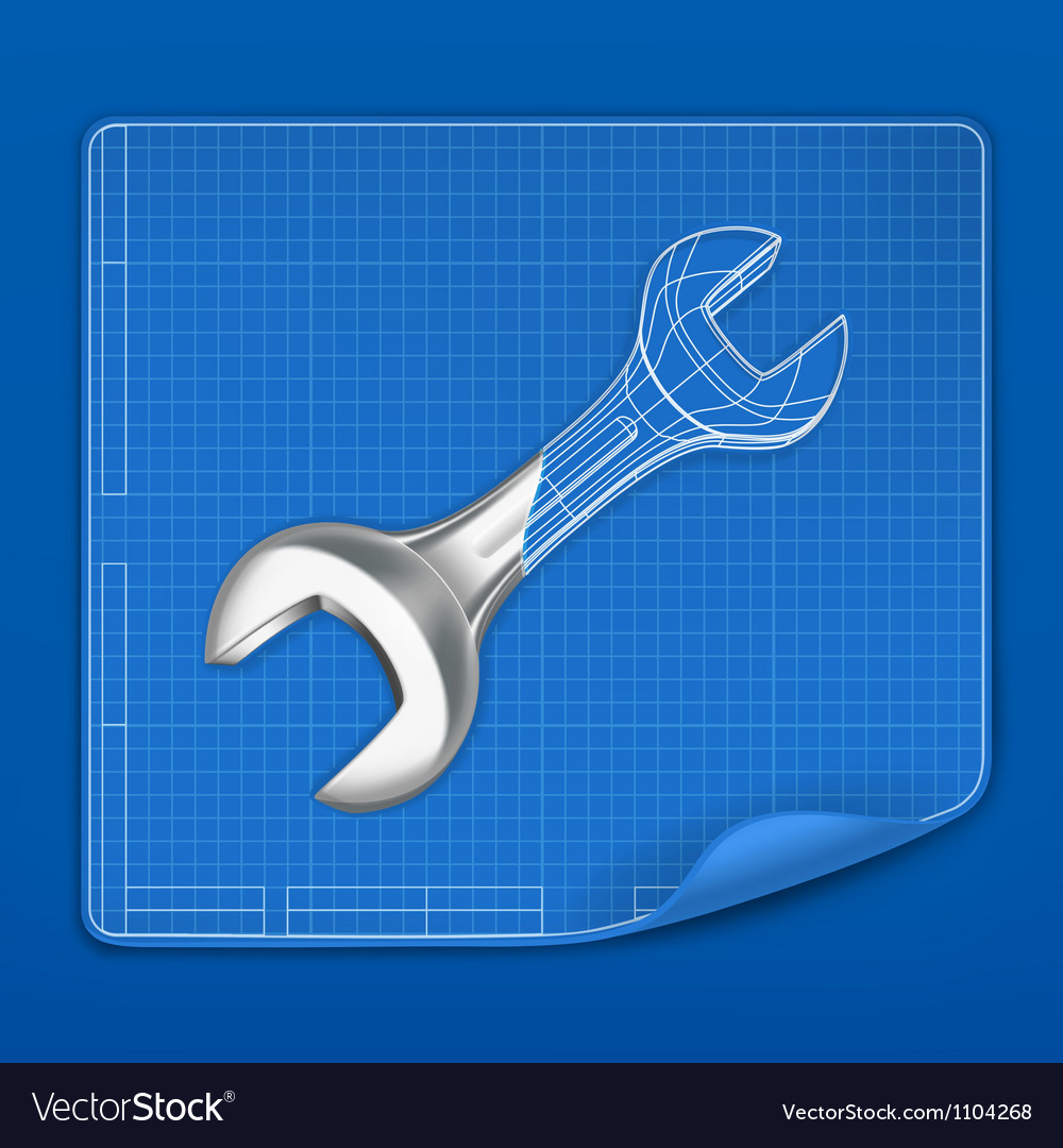 Wrench drawing blueprint vector | Price: 1 Credit (USD $1)