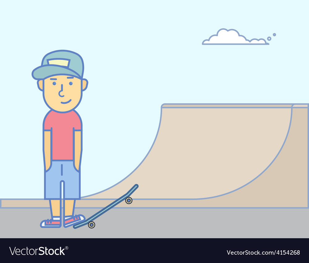 Young smiling guy with skateboard vector